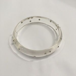 Jewelry - Transparent bangle with CZs lucite plastic resin